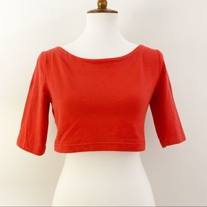 Urban Outfitters BDG Red 3/4 Sleeve Crop Top